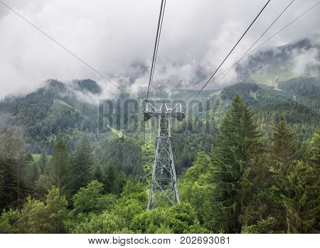 The  Funicular Tower In Mountains Of Tyrol, Austria