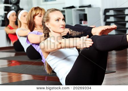 Group of young women in the gym centre.