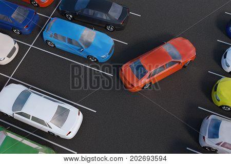 Car Is Parking In Parking Lot. 3D Rendered Illustration. View Fr