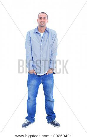 Portrait of happy young man, looking at camera, smiling. Isolated on white.