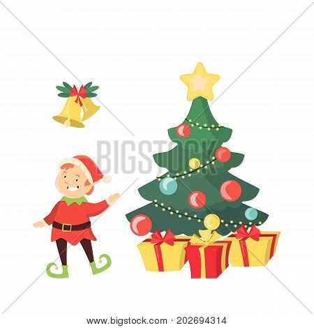 Christmas tree with elf and bells on white background.