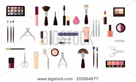 Make up objects set. Cosmetics and scissors, mirror and more.