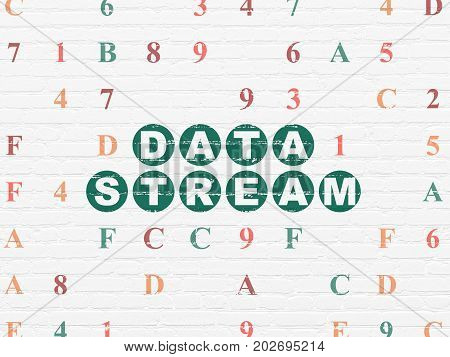 Information concept: Painted green text Data Stream on White Brick wall background with Hexadecimal Code