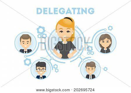 Delegating business illustration. Idea of business oragnization and communication. Woman leader.
