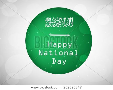 illustration of button in Saudi Arabia flag and Happy National Day text background on the occasion of Saudi Arabia National Day