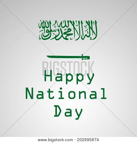 illustration of Saudi Arabia flag background with Happy National Day text on the occasion of Saudi Arabia National Day