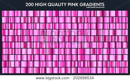 Pink chrome gradient set, pattern, template.Love colors for design, collection of high quality gradients.Metallic texture, shiny metal background.Suitable for text , mockup, banner, ribbon