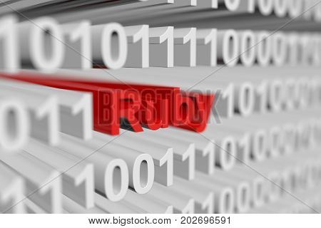 Ruby as a binary code with blurred background 3D illustration