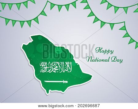 illustration of Saudi Arabia Map in Saudi Arabia flag background and decoration with Happy National Day text on the occasion of Saudi Arabia National Day