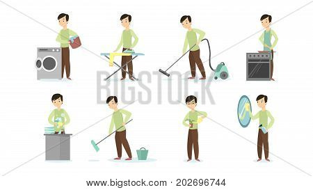 Man doing household chores on white background. Cleaning and ironing, cooking and vacuum cleaning.
