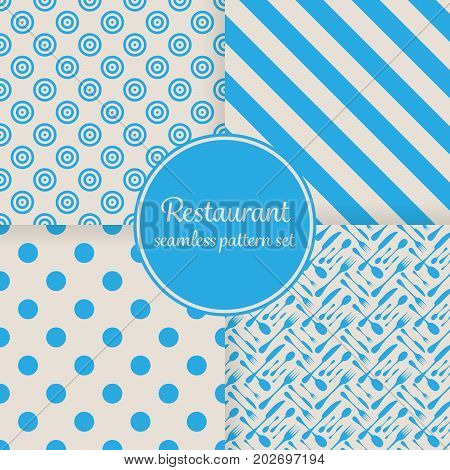 Restaurant or bistro theme. Blue stripes, dots, cutlery and other shapes. Seamless vector pattern background set.