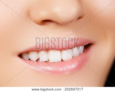 Woman's Smile. Healthy White Woman's Teeth. Dental Hygiene, Oral Care Concept. Teeth Whitening. Stom