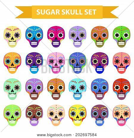 Day of the dead holiday in mexico icons set with sugar skulls. Flat style. Skeleton collection. Dia de Muertos concept. Vector illustration