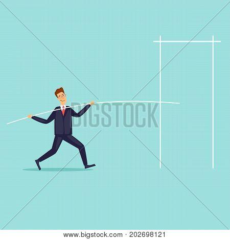 Businessman jumping high. Flat design vector illustration.