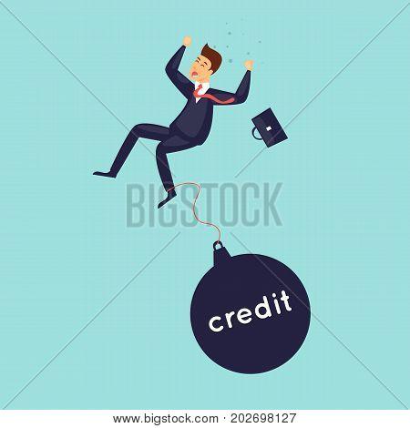 Businessman falls, crisis, bankruptcy. Flat design vector illustration.