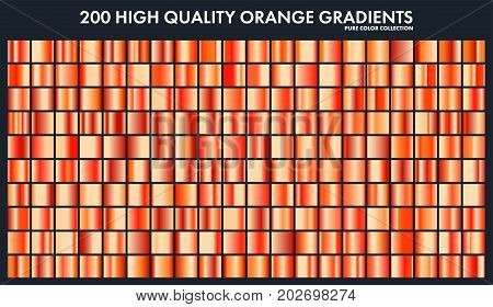 Orange chrome gradient set, pattern, template.Sun, fruits colors for design, collection of high quality gradients.Metallic texture, shiny metal background.Suitable for text , mockup, banner, ribbon