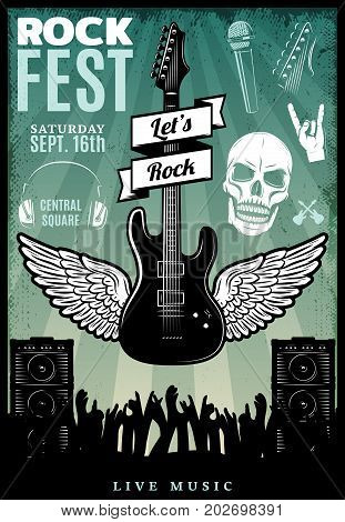 Vintage rock music fest template with musical equipment skull and raising hands of crowd on concert vector illustration
