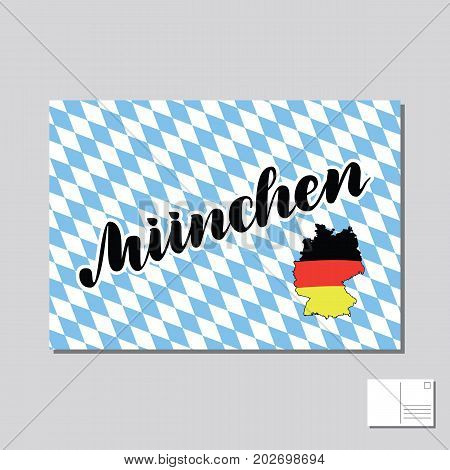 Muenchen. Munich in German hand drawn lettering post card with german flag on map. Vector lettering illustration. Template for Traditional German Oktoberfest bier festival.
