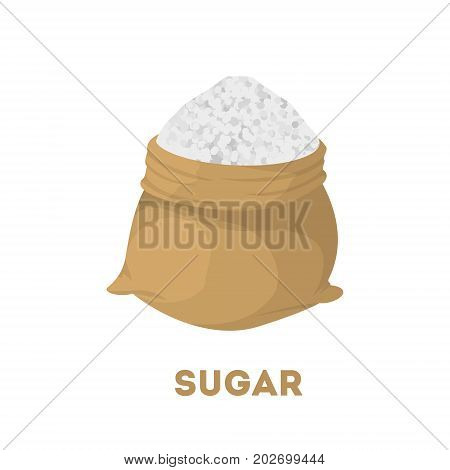 Isolated bag of sugar on white background.