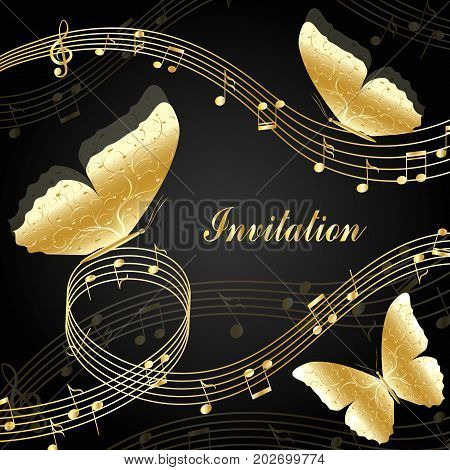 Musical design elements with treble clef, notes and butterflies. Vector Illustration isolated on black background.