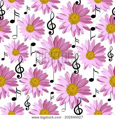 Seamless pattern with music notes and pink daisies isolated on white background.