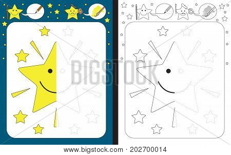 Preschool worksheet for practicing fine motor skills - tracing dashed lines - finish the illustration of cartoon star