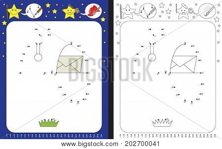 Preschool worksheet for practicing fine motor skills and recognizing numbers - connecting dots by numbers - drawing a mailbox