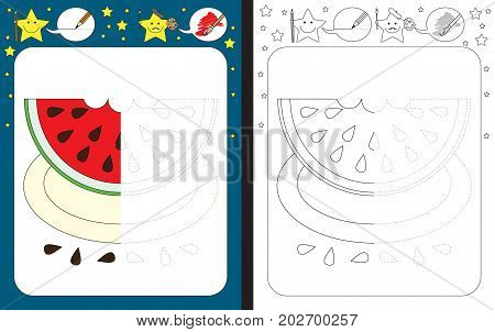 Preschool worksheet for practicing fine motor skills - tracing dashed lines - finish the illustration of watermelon slice on a plate