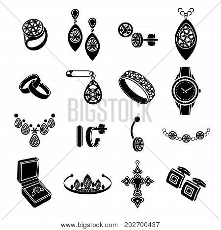 Set Icons Jewelry In Vector. Black Flat Icons Isolated