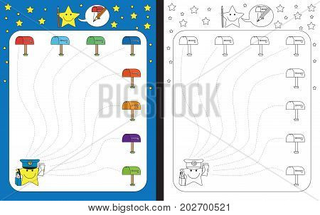 Preschool worksheet for practicing fine motor skills - tracing dashed lines of path from postman to mailbox