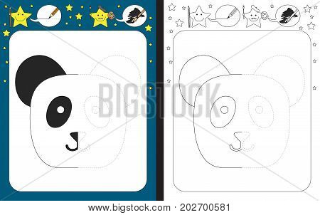 Preschool worksheet for practicing fine motor skills - tracing dashed lines - finish the illustration of panda