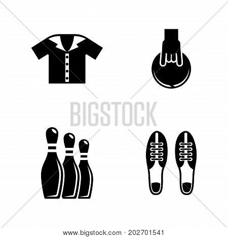 Bowling. Simple Related Vector Icons Set for Video, Mobile Apps, Web Sites, Print Projects and Your Design. Black Flat Illustration on White Background.