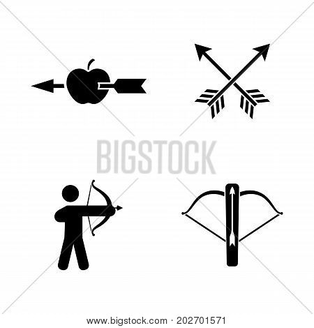 Archer. Simple Related Vector Icons Set for Video, Mobile Apps, Web Sites, Print Projects and Your Design. Black Flat Illustration on White Background.
