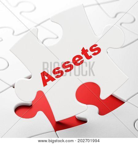 Money concept: Assets on White puzzle pieces background, 3D rendering