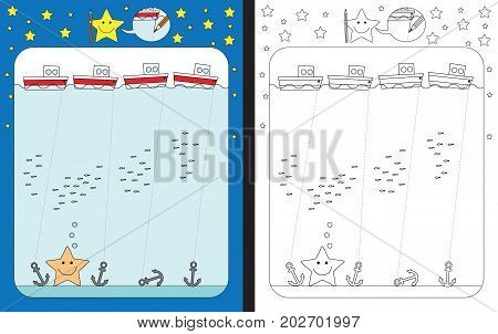 Preschool worksheet for practicing fine motor skills - tracing dashed lines of ropes connecting ships and anchors