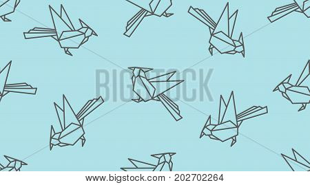 Origami Linear Woodpecker Bird Seamless Pattern. Japanese Outline Vector Ornament.