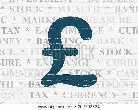 Money concept: Painted blue Pound icon on White Brick wall background with  Tag Cloud