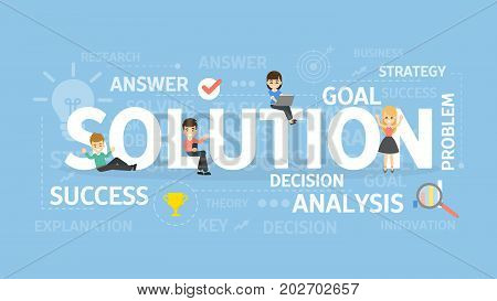 Solution concept illustration. Idea of analysis, questions and brainstorming.