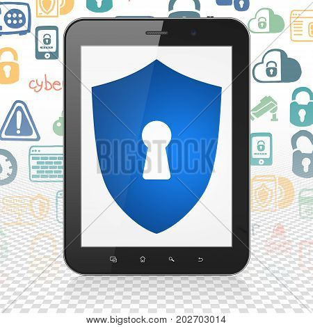 Protection concept: Tablet Computer with  blue Shield With Keyhole icon on display,  Hand Drawn Security Icons background, 3D rendering