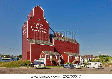 Dawson Creek, Canada, 2017.07.11: The grain elevator of Dawson Creek in Canada.