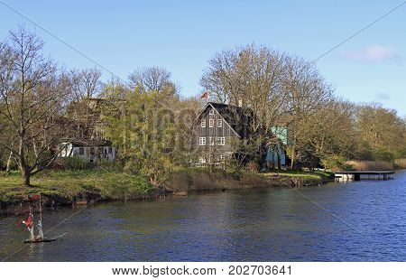 Canal Stadsgraven And Wooden Houses