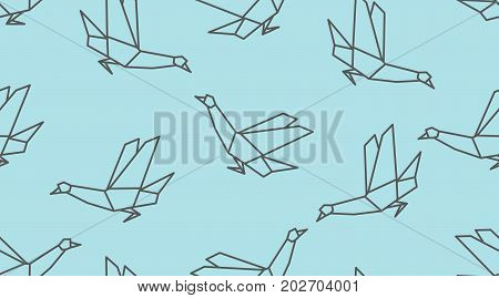 Origami Linear Dove Bird Seamless Pattern On Blue Background.