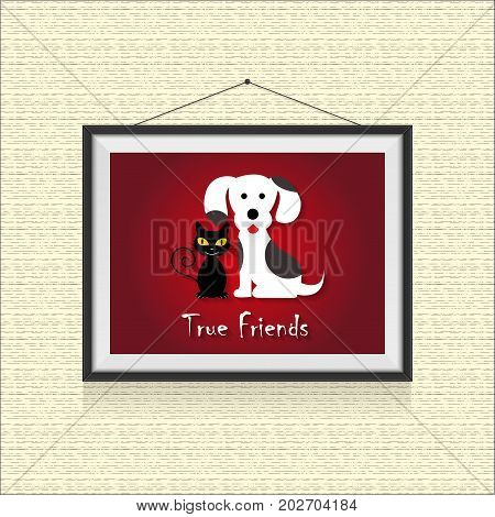 True friends, dog and cat friendship - funny cartoon picture in photo frame on dotted background