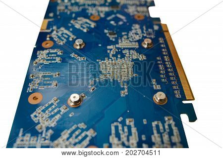 Blue Isolated Motherboard Or Computer Boar With Chips And Component On It On A White Background