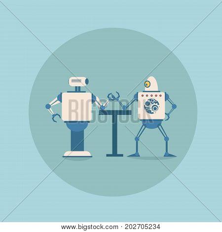 Modern Robots Playing Arm Wrestling Concept Futuristic Artificial Intelligence Mechanism Technology Flat Vector Illustration