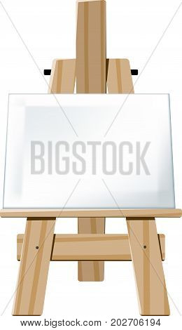 Wooden easel with blank canvas face directed towards the viewer