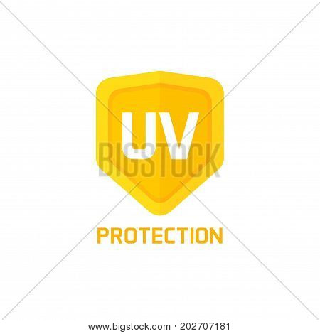 UV protection shield icon vector sign isolated on white background, idea of logo label