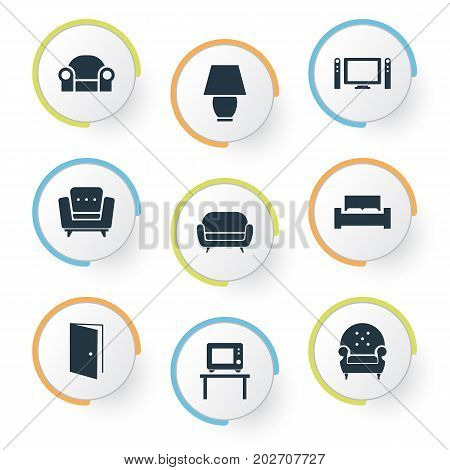 Elements Easychair, Entry, Flat-Screen And Other Synonyms Lounge, Furniture And Cinema.  Vector Illustration Set Of Simple Furniture Icons.