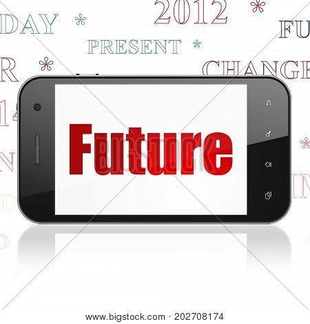 Timeline concept: Smartphone with  red text Future on display,  Tag Cloud background, 3D rendering