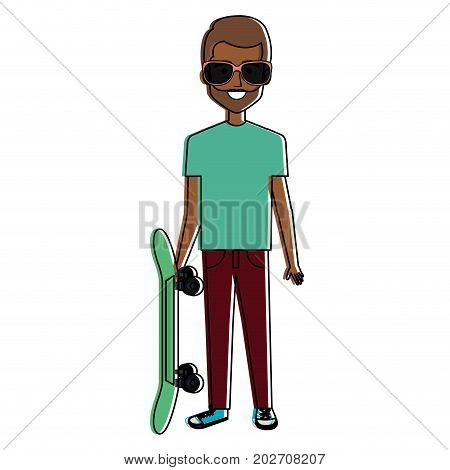 young man with skate board avatar character vector illustration design